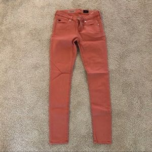 AG salmon colored skinny jeans